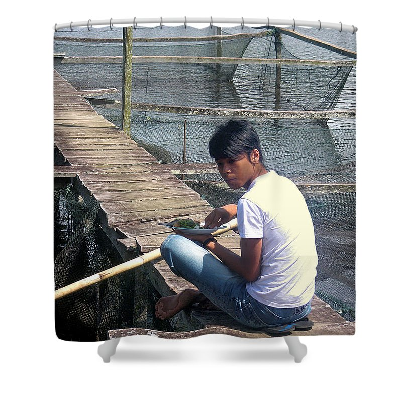 Fisherman Shower Curtain featuring the photograph Fisherman's Lunch by Mark Sellers