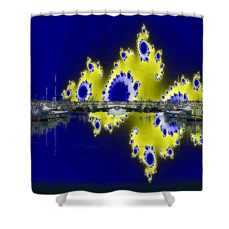 Seattle Shower Curtain featuring the digital art Fishermans Terminal by Tim Allen