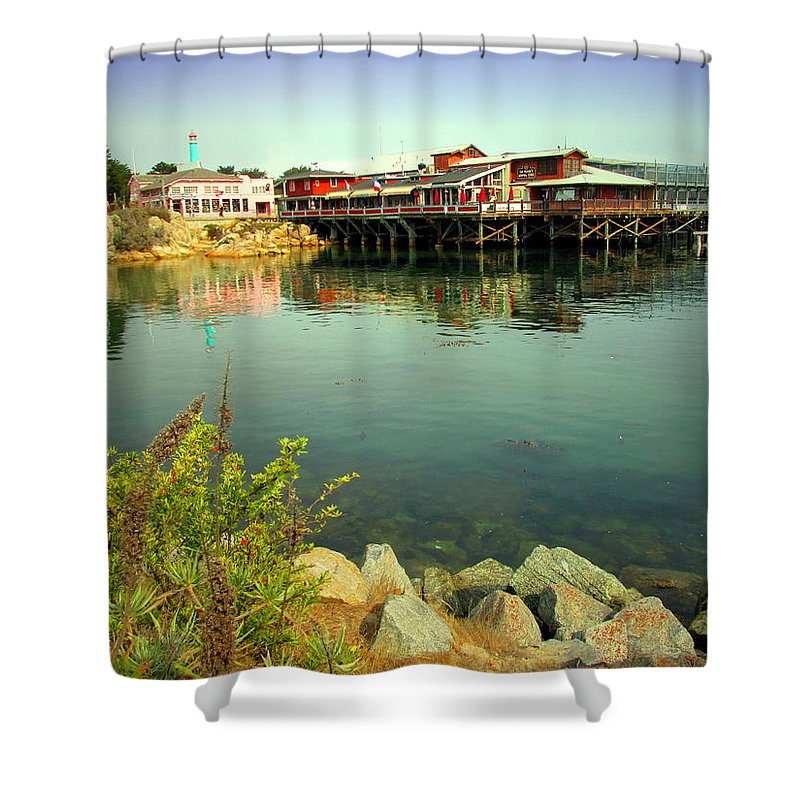 Wharf Shower Curtain featuring the photograph Fishermans Wharf Monterey Ca II by Joyce Dickens
