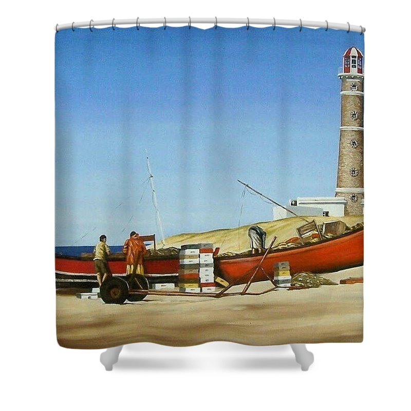 Lighthouse Fishermen Sea Seascape Shower Curtain featuring the painting Fishermen By Lighthouse by Natalia Tejera