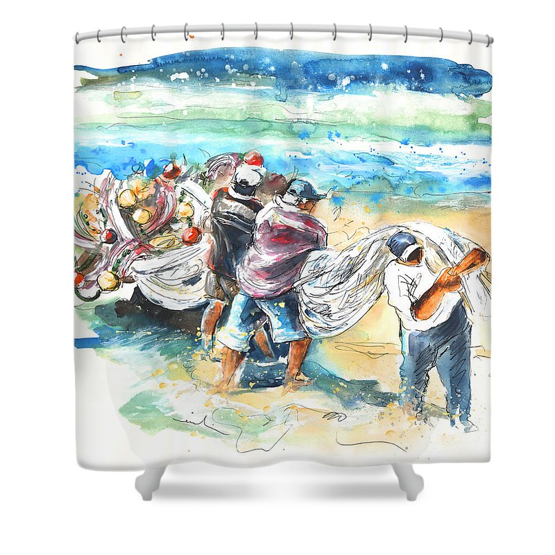 Portugal Shower Curtain featuring the painting Fishermen In Praia De Mira by Miki De Goodaboom