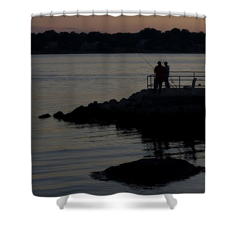 Photography Shower Curtain featuring the photograph Fishermen Silhouetted By The Sunset by Todd Gipstein