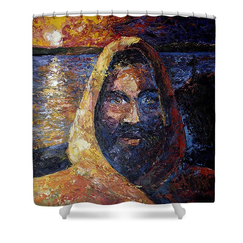 Jesus Shower Curtain featuring the painting Fishers Of Men by Lewis Bowman