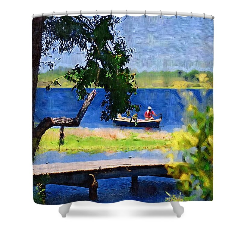 Ponds Shower Curtain featuring the photograph Fishin by Donna Bentley