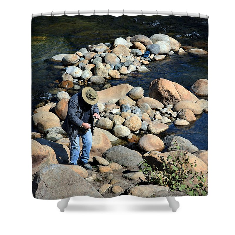 Watercolor Shower Curtain featuring the photograph Fishin by Joanne Coyle