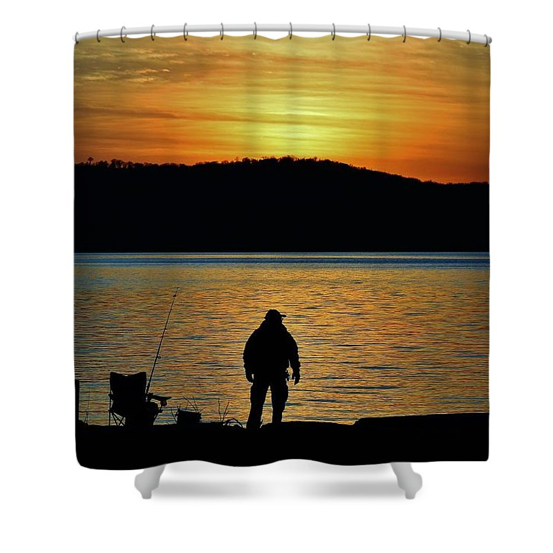 Hudson Valley Landscapes Shower Curtain featuring the photograph Fishing Along The Hudson by Thomas McGuire