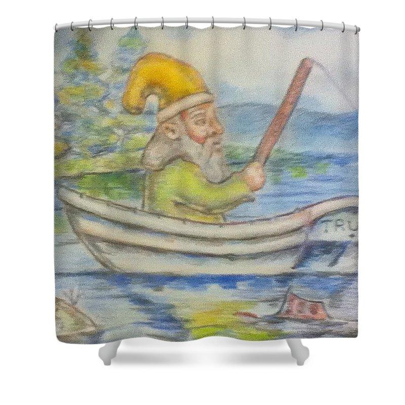 Gnome Shower Curtain featuring the drawing Fishing Around by Joseph Kushnir