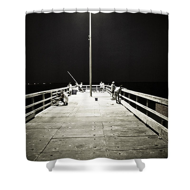 Americana Shower Curtain featuring the photograph Fishing At Night by Marilyn Hunt