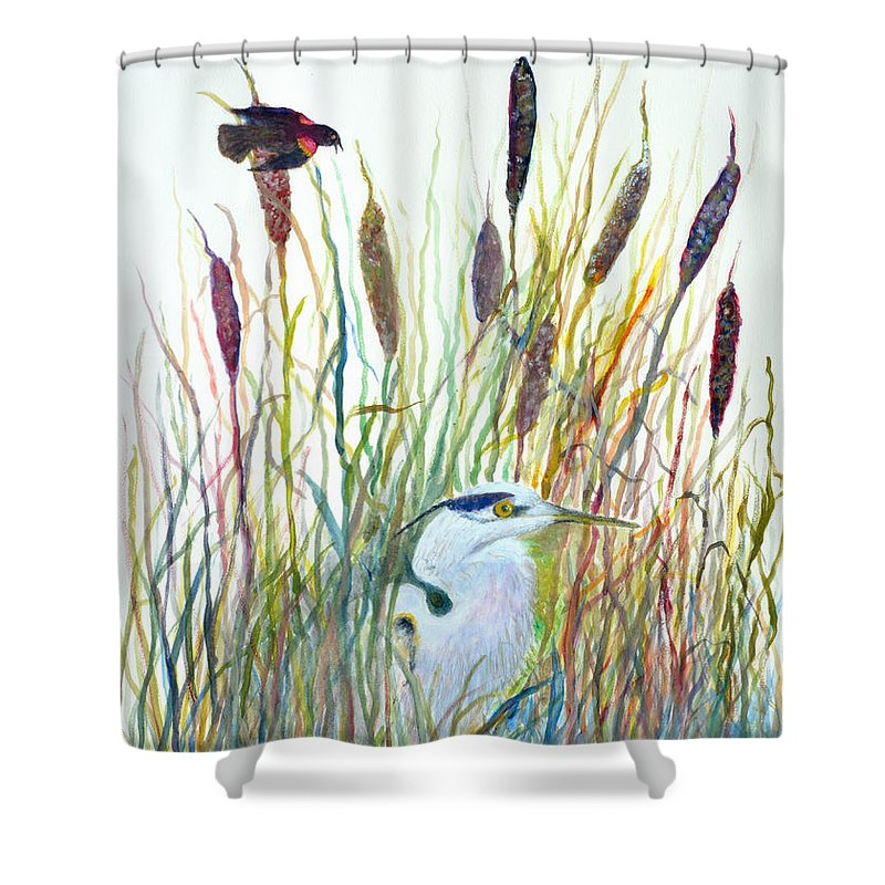 Fishing Shower Curtain featuring the painting Fishing Blue Heron by Ben Kiger