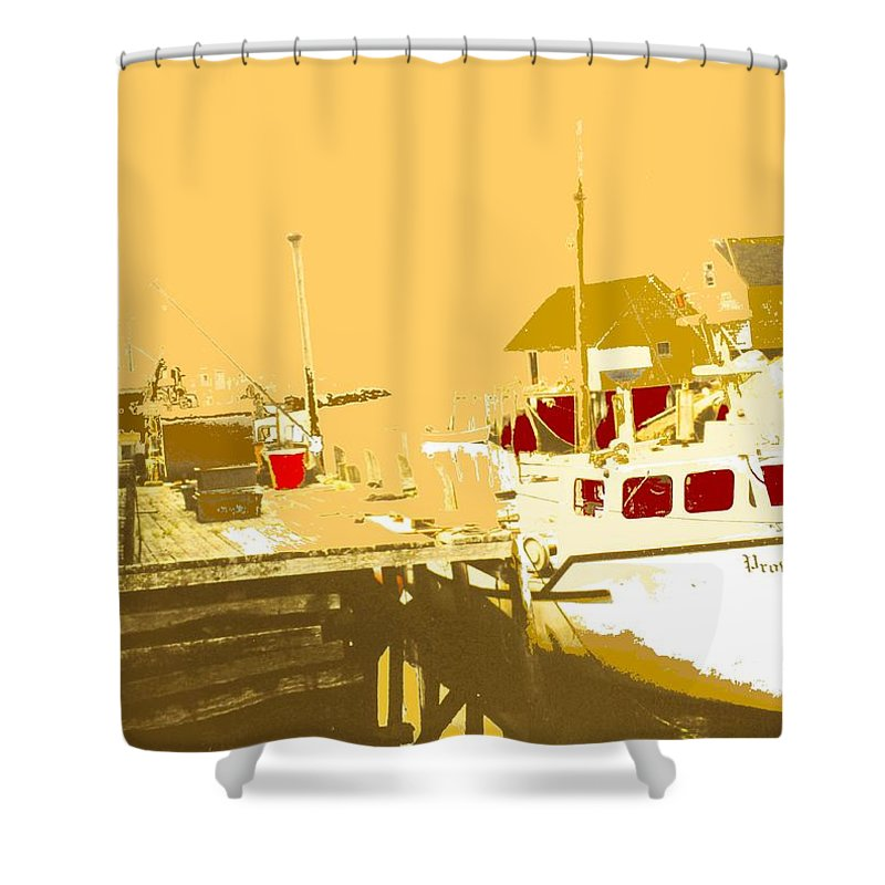 Red Shower Curtain featuring the photograph Fishing Boat At The Dock by Ian MacDonald