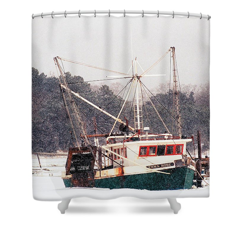 Fishing Boat Shower Curtain featuring the photograph Fishing Boat Emma Rose In Winter Cape Cod by Matt Suess