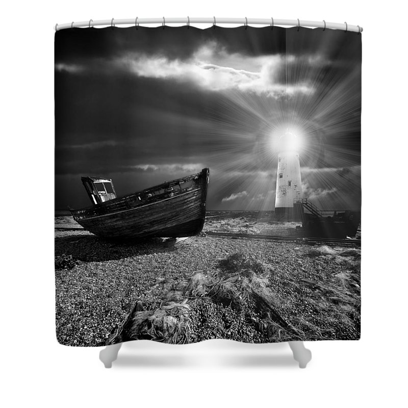 Boat Shower Curtain featuring the photograph Fishing Boat Graveyard 7 by Meirion Matthias