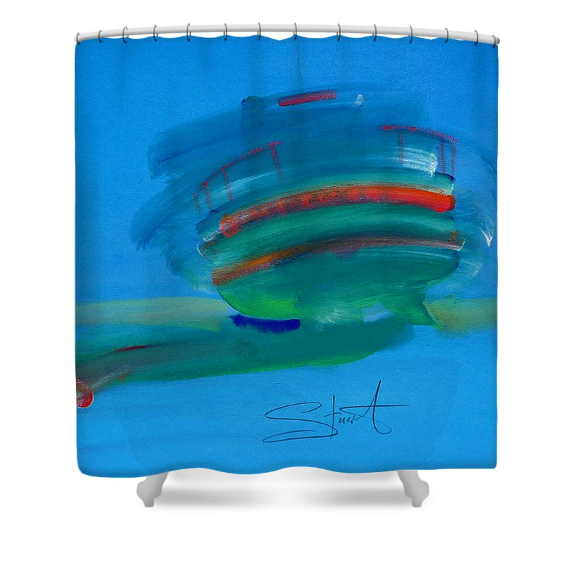 Fishing Boat Shower Curtain featuring the painting Fishing Boat Hastings by Charles Stuart