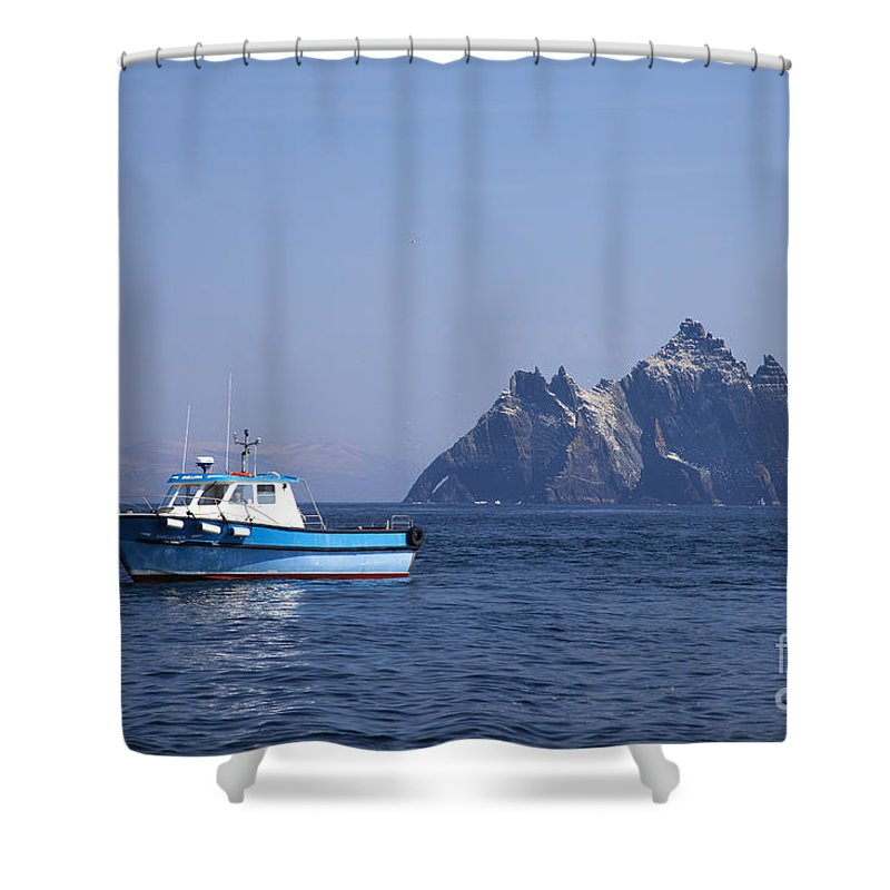 Fishing Shower Curtain featuring the photograph Fishing Boat Near Little Skellig, County Kerry, In Spring Sunshine, Ireland by Peter Barritt
