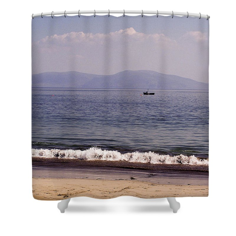 Irish Shower Curtain featuring the photograph Fishing Boat On Ventry Harbor Ireland by Teresa Mucha