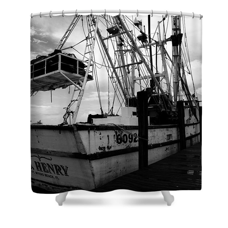 Fishing Shower Curtain featuring the photograph Fishing Boat by Toni Hopper