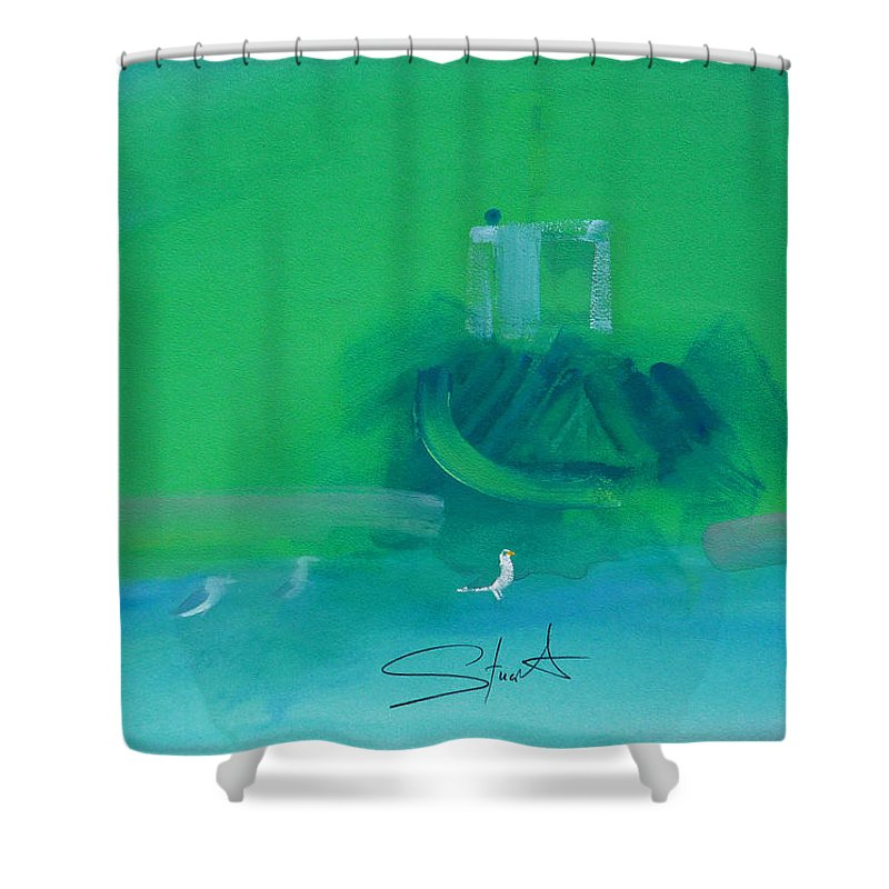 Fishing Boat Shower Curtain featuring the painting Fishing Boat With Seagulls by Charles Stuart