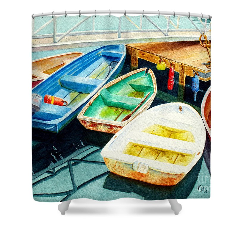Fishing Shower Curtain featuring the painting Fishing Boats by Karen Fleschler