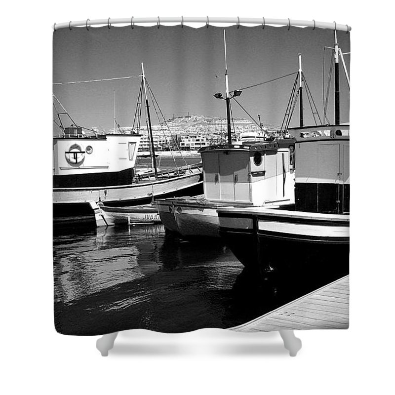 Boat Boats Fishing Water Sea Dock Port Quay Rope Masts Life Belt Cabin Porthole Deck Canary Islands Costa Caleta Spain Shower Curtain featuring the photograph Fishing Boats Monochrome by Jeff Townsend