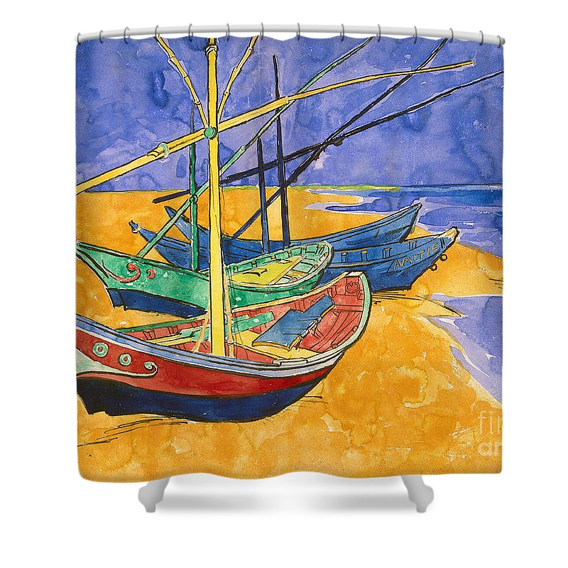 Fishing Shower Curtain featuring the painting Fishing Boats on the Beach at Saintes Maries de la Mer by Vincent Van Gogh