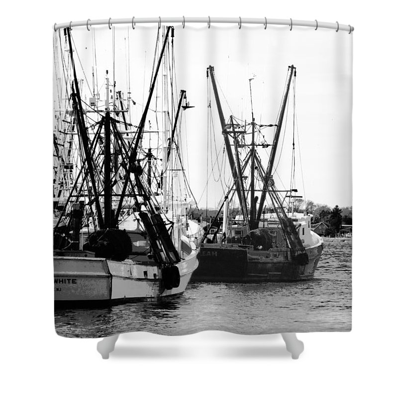 Boats Shower Curtain featuring the photograph Fishing Boats by Steve Karol