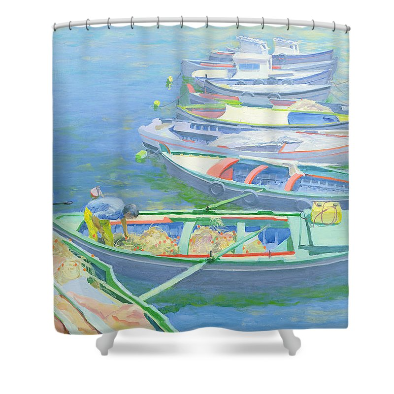 Rowing Boats Shower Curtain featuring the painting Fishing Boats by William Ireland