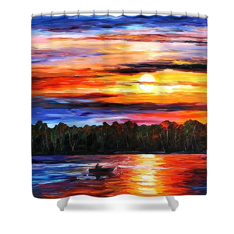 Afremov Shower Curtain featuring the painting Fishing By Sunset by Leonid Afremov