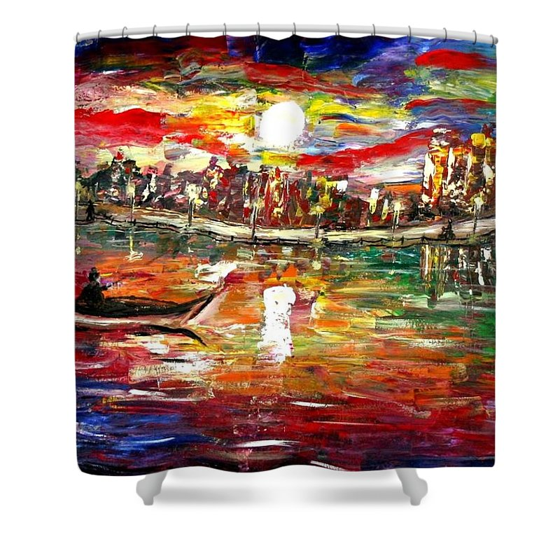 Art Shower Curtain featuring the painting Fishing In The Moonlight by Luiza Vizoli