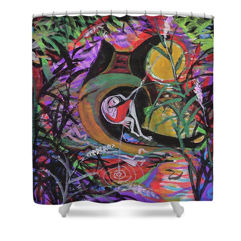 Fishing Shower Curtain featuring the drawing Fishing In Wonderland by Chinaart Find