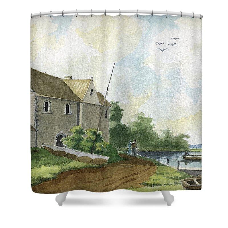 Lake Shower Curtain featuring the painting Fishing Lake by Alban Dizdari