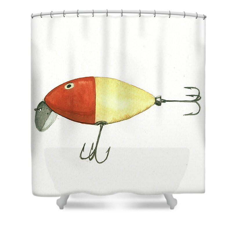 Fishing Lure Shower Curtain Featuring The Painting By Juan Bosco