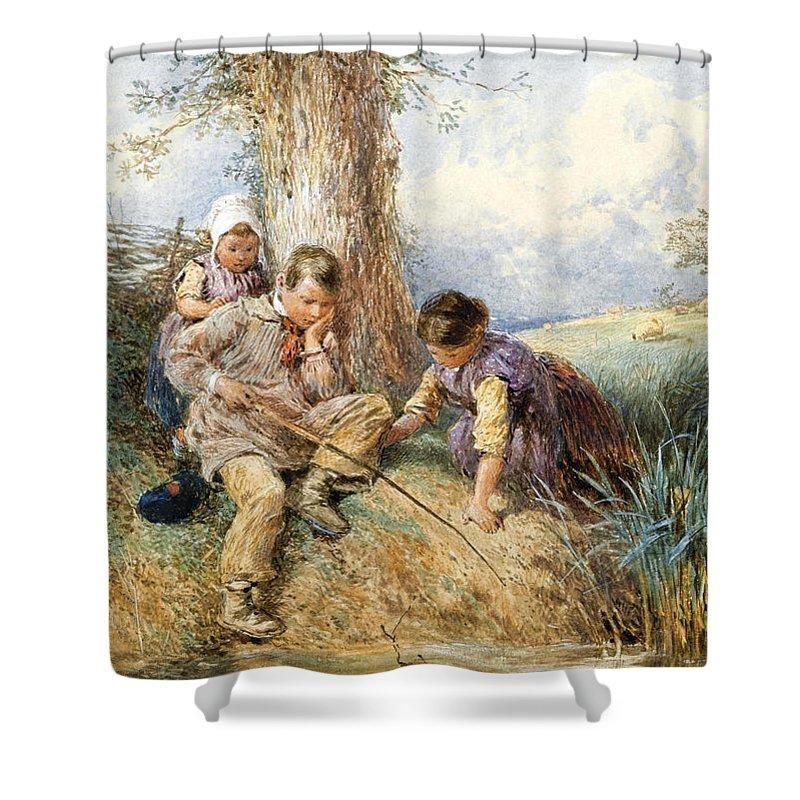 Myles Birket Foster Shower Curtain featuring the drawing Fishing by Myles Birket Foster