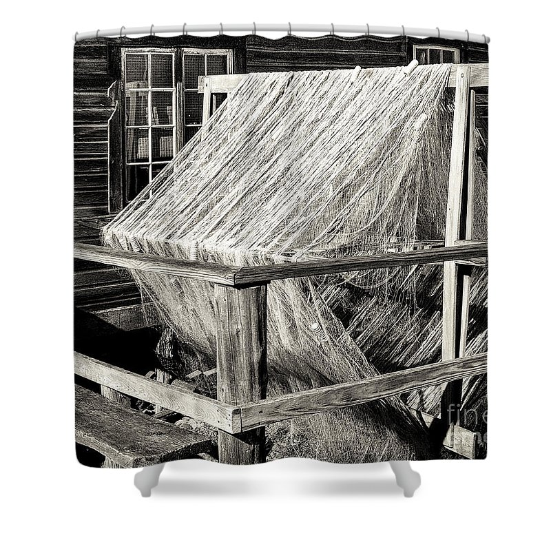 Fishing Village Shower Curtain featuring the photograph Fishing Nets Wound On Spool by Scott Olson