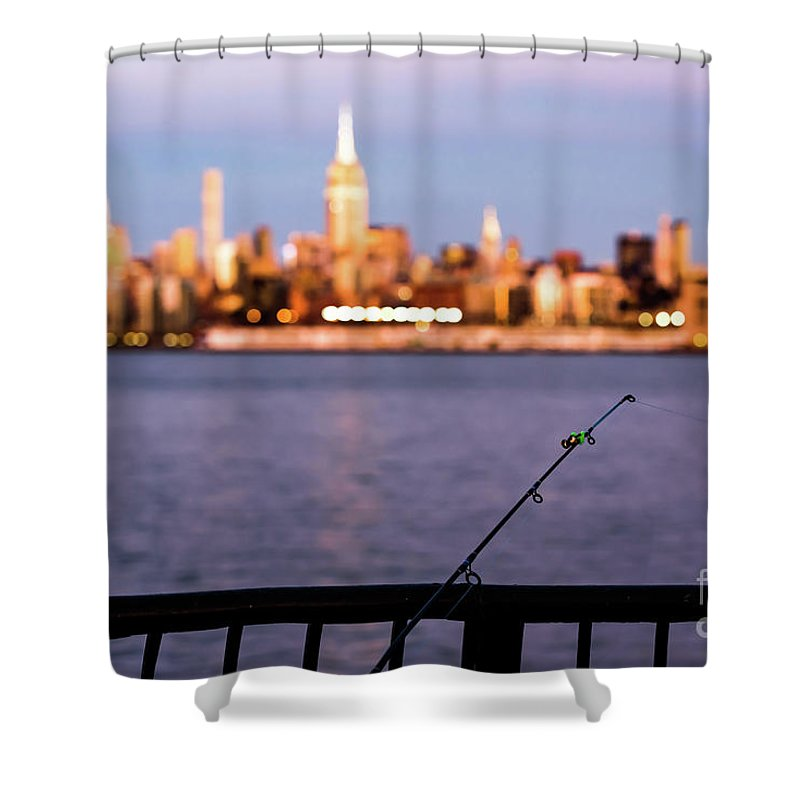 Nyc Shower Curtain featuring the photograph Fishing On The Hudson by Zawhaus Photography