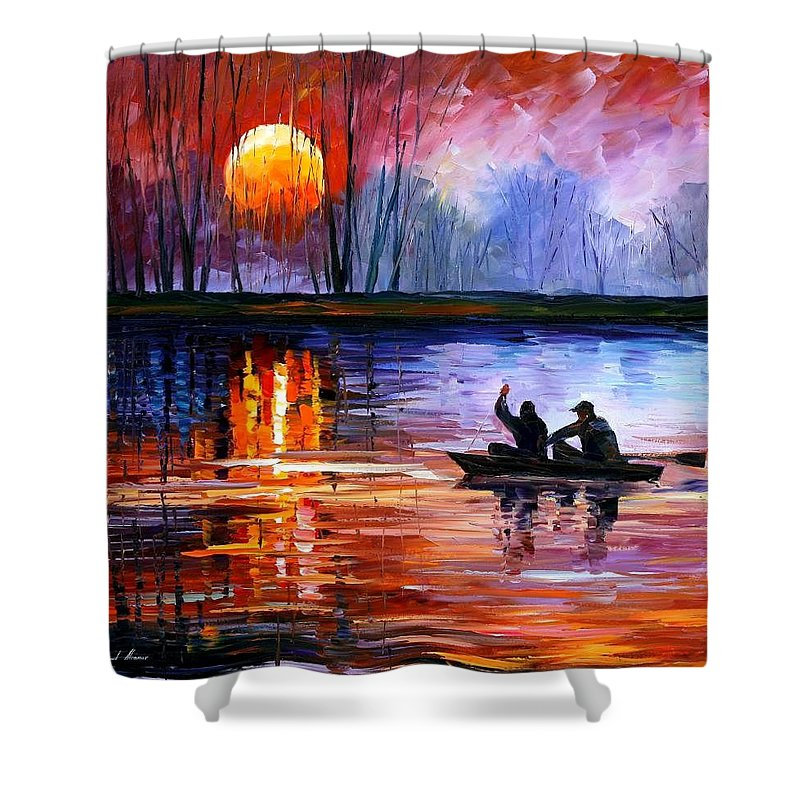 Seascape Shower Curtain featuring the painting Fishing On The Lake by Leonid Afremov