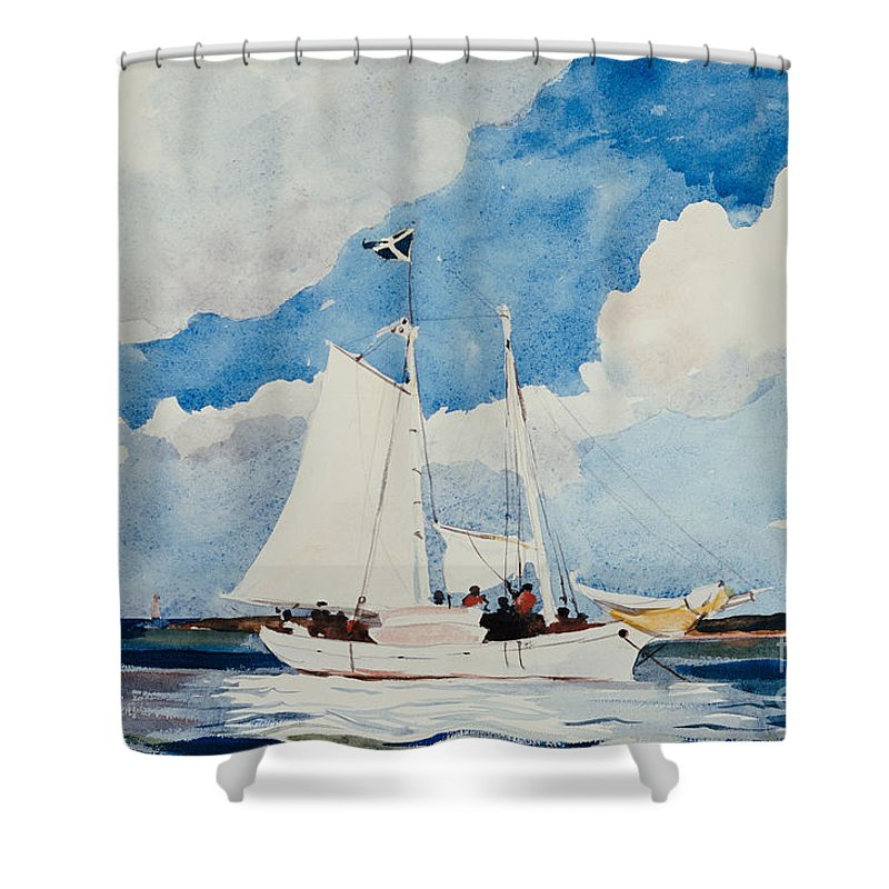 Boat Shower Curtain featuring the painting Fishing Schooner In Nassau by Winslow Homer