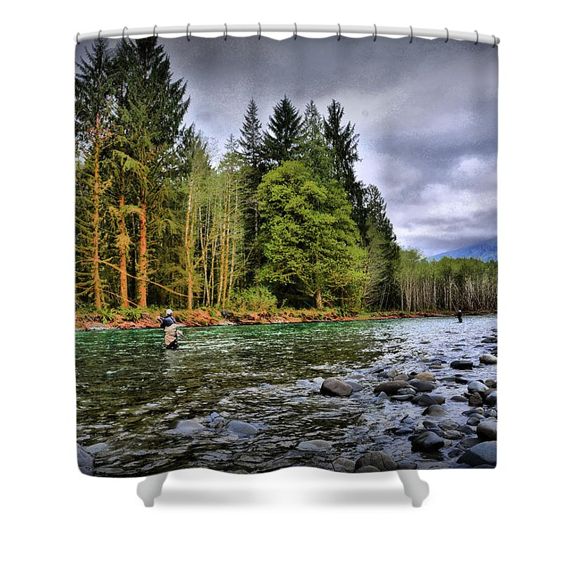 Shower Curtain featuring the photograph Fishing the Run by Jason Brooks