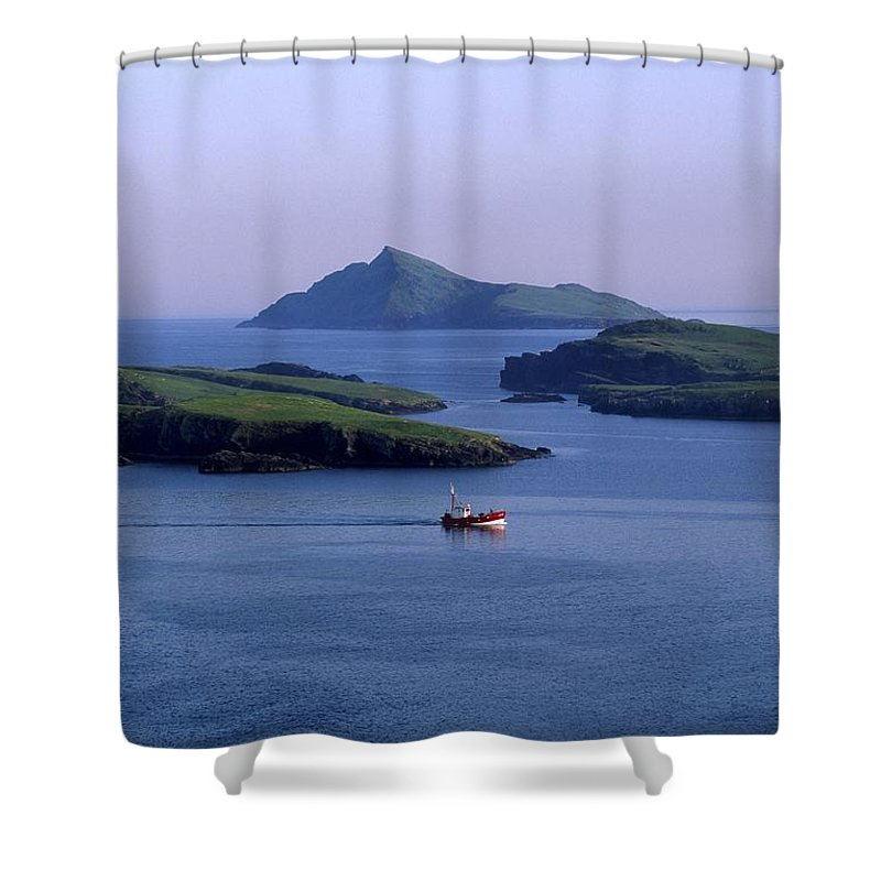Blasket Islands Shower Curtain featuring the photograph Fishing Trawler, Blasket Islands, Co by The Irish Image Collection