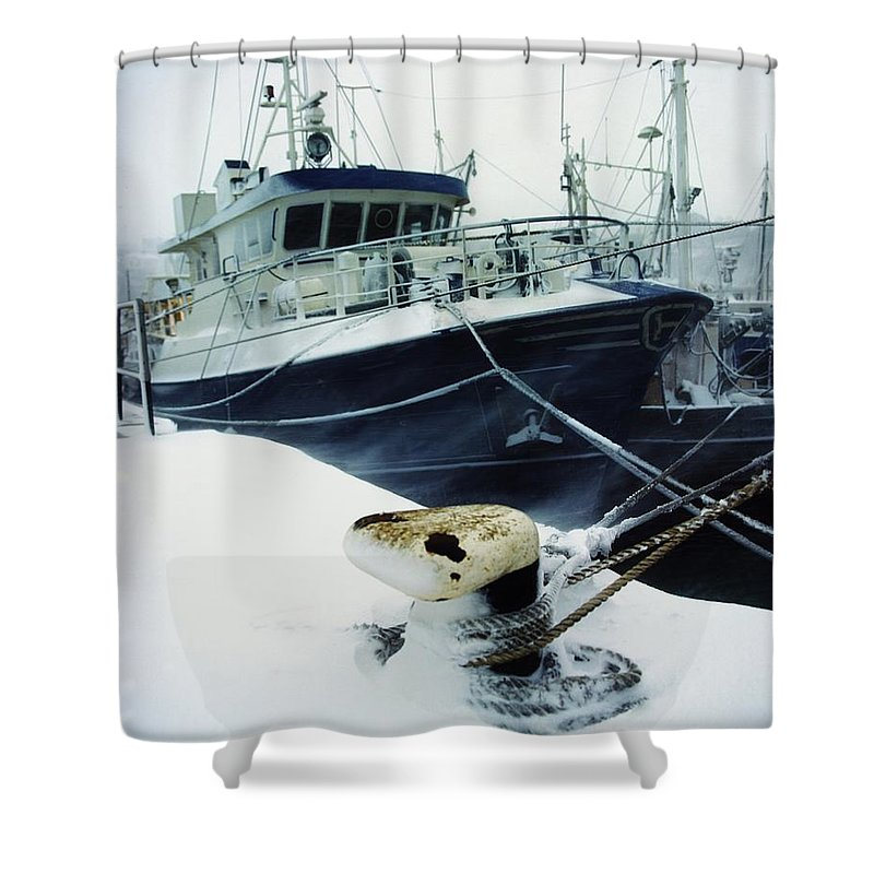 Economy Shower Curtain featuring the photograph Fishing Trawler, Howth Harbour, Co by The Irish Image Collection