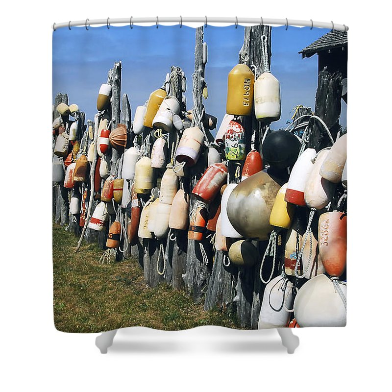 Buoys Shower Curtain featuring the photograph Fishing Village by David Lee Thompson