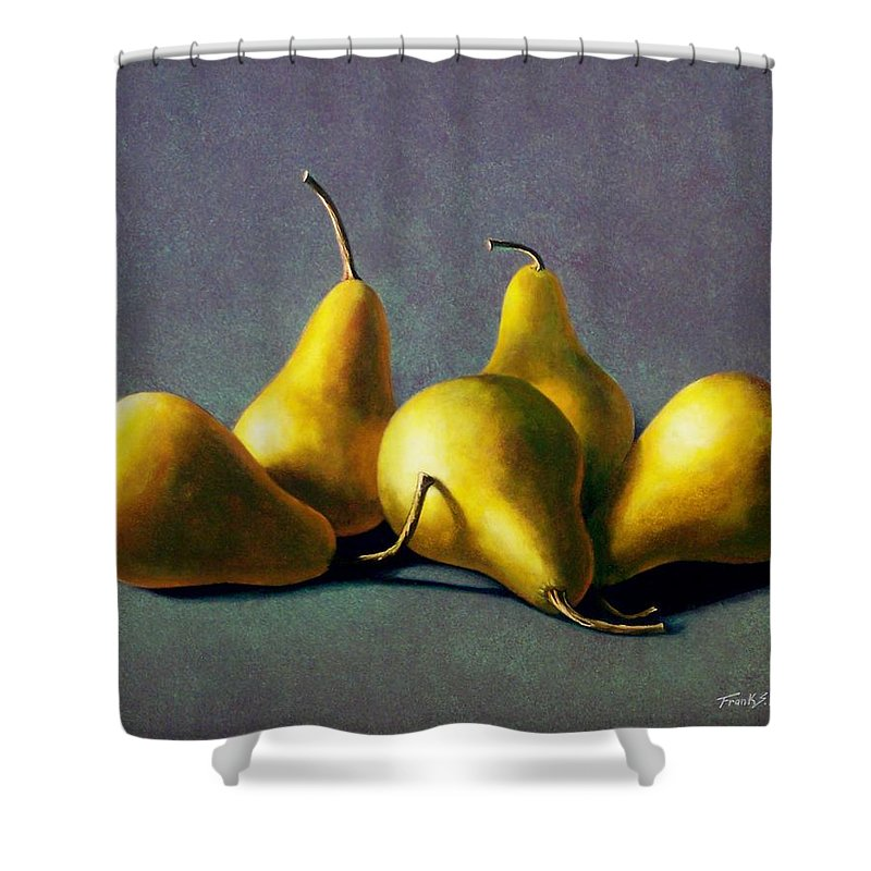 Still Life Shower Curtain featuring the painting Five Golden Pears by Frank Wilson