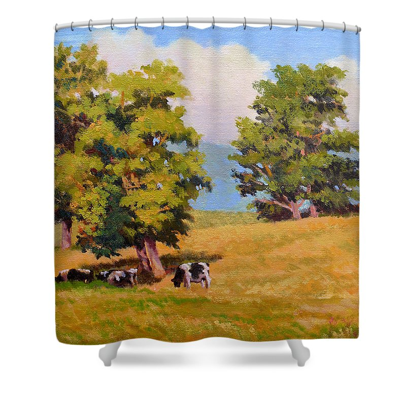 Landscape Shower Curtain featuring the painting Five Oaks by Keith Burgess