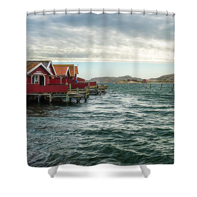Fisherman Shower Curtain featuring the photograph Fjallbacka Huts by James Billings