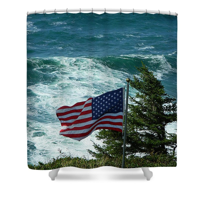 Oregon Shower Curtain featuring the photograph Flag Flying by Gallery Of Hope