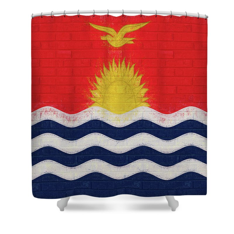 Kiribati Shower Curtain featuring the digital art Flag Of Kiribati Wall by Roy Pedersen