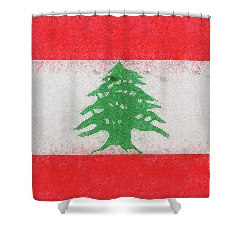 Arab Shower Curtain featuring the digital art Flag Of Lebanon Grunge by Roy Pedersen