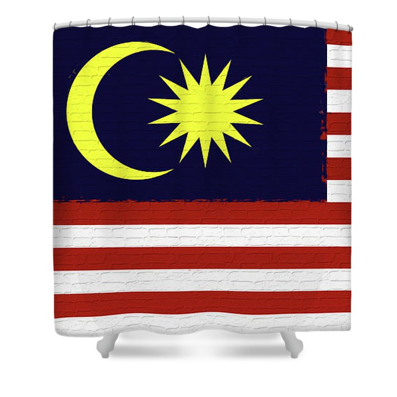Asia Shower Curtain featuring the digital art Flag Of Malaysia Wall. by Roy Pedersen