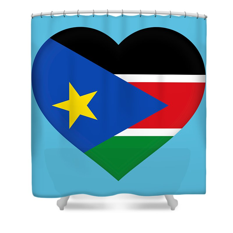 South Sudan Shower Curtain featuring the digital art Flag Of South Sudan Heart by Roy Pedersen