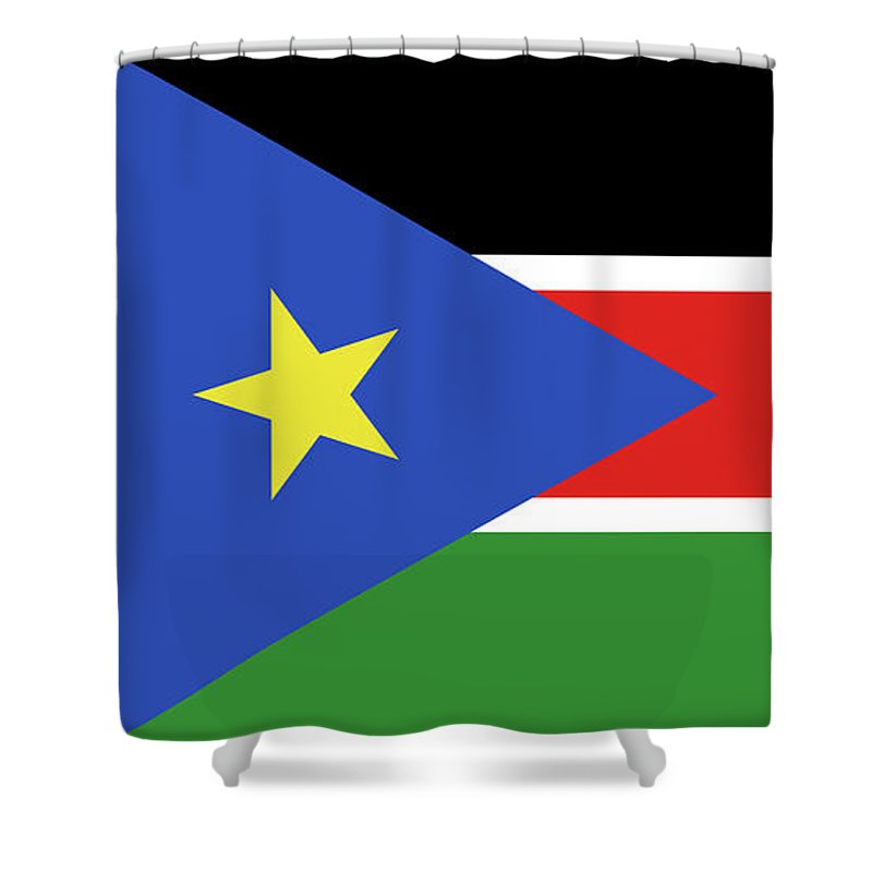 Africa Shower Curtain featuring the digital art Flag Of South Sudan by Roy Pedersen