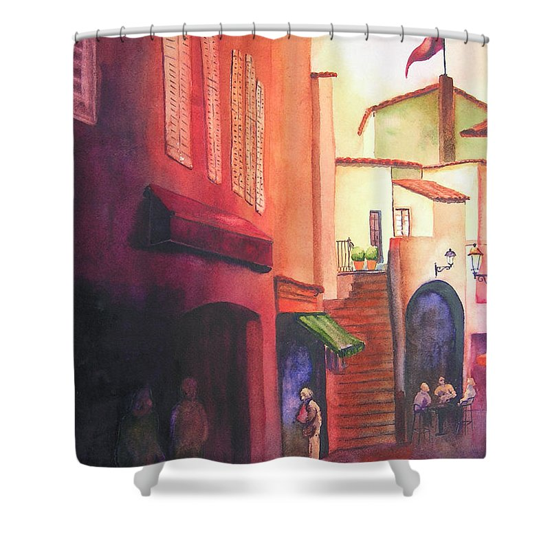 Europe Shower Curtain featuring the painting Flag Over St. Tropez by Karen Stark